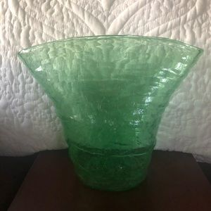 Other - Vintage Mid Century Green Bubble Glass Vase